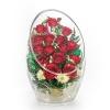 Роза алая натуральная в герметичной вазе из стекла